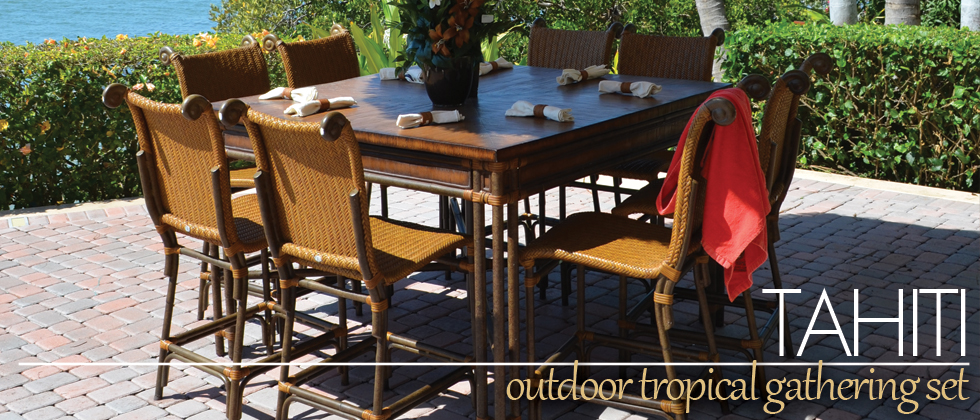 Tahiti Outdoor Wicker Counter Height Gathering